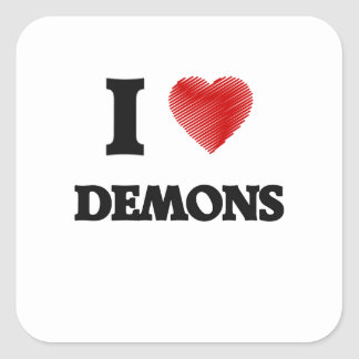 Amo a demonios pegatina cuadrada