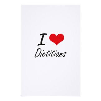Amo a dietético papelería personalizada