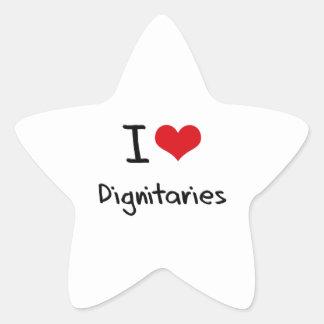 Amo a dignatarios pegatinas forma de estrellaes personalizadas