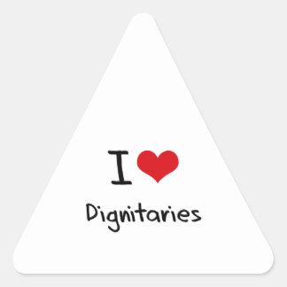 Amo a dignatarios pegatinas de trianguladas