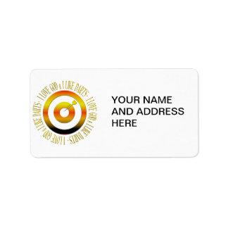 Amo a dios y tengo gusto de dardos etiquetas de dirección