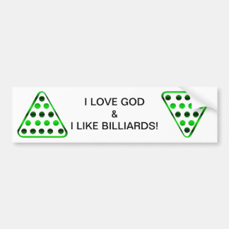 Amo a dios y tengo gusto de los billares/piscina etiqueta de parachoque