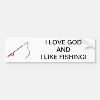 Amo a dios y tengo gusto de pescar pegatina de parachoque