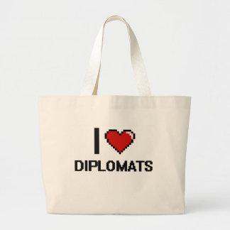 Amo a diplomáticos bolsa tela grande