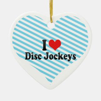 Amo a discs jockeyes adorno de cerámica en forma de corazón