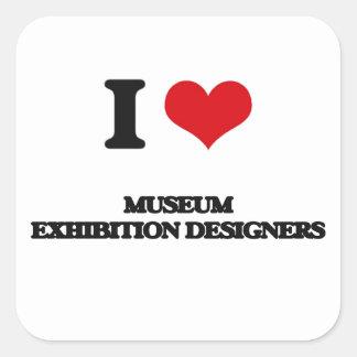 Amo a diseñadores de la exposición del museo colcomanias cuadradas personalizadas