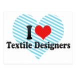 Amo a diseñadores de la materia textil tarjetas postales
