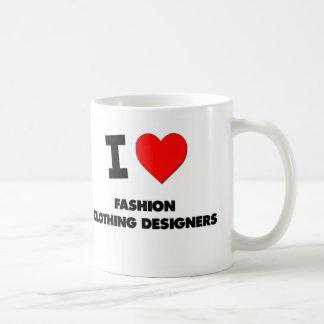 Amo a diseñadores de la ropa de moda tazas de café