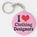 Amo a diseñadores de la ropa llavero personalizado