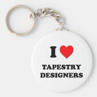 Amo a diseñadores de la tapicería llavero redondo tipo pin