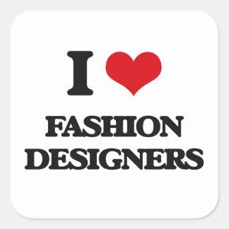 Amo a diseñadores de moda pegatinas cuadradases personalizadas