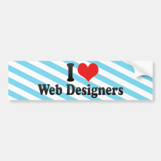 Amo a diseñadores del Web Etiqueta De Parachoque