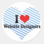 Amo a diseñadores del Web site Pegatina Redonda