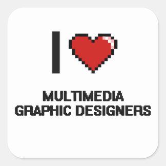 Amo a diseñadores gráficos de las multimedias pegatina cuadrada