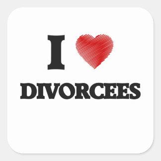Amo a divorciados pegatina cuadrada