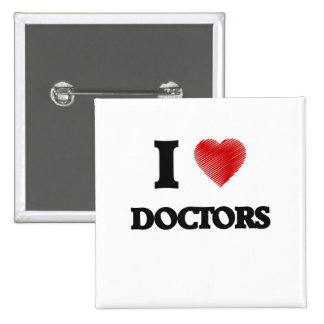 Amo a doctores pin cuadrado