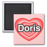 Amo a Doris. Te amo Doris. Corazón Iman De Nevera