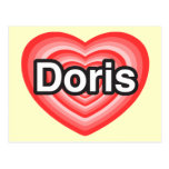 Amo a Doris. Te amo Doris. Corazón Postal