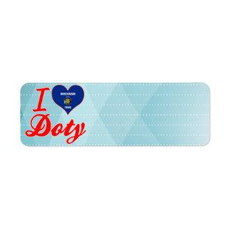 Amo a Doty, Wisconsin Etiqueta De Remite