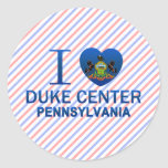 Amo a duque Center, PA Pegatina Redonda