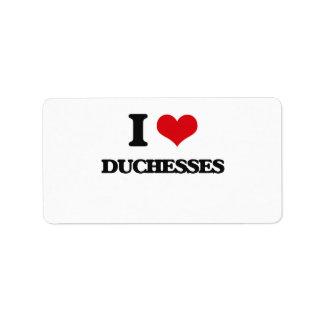 Amo a duquesas etiquetas de dirección