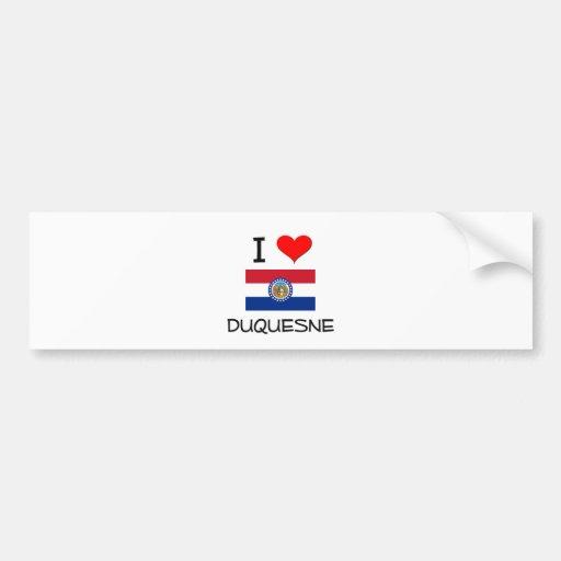 Amo a Duquesne Missouri Pegatina De Parachoque