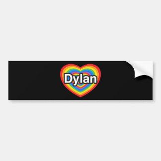 Amo a Dylan. Te amo Dylan. Corazón Pegatina De Parachoque