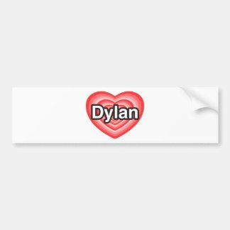 Amo a Dylan. Te amo Dylan. Corazón Etiqueta De Parachoque