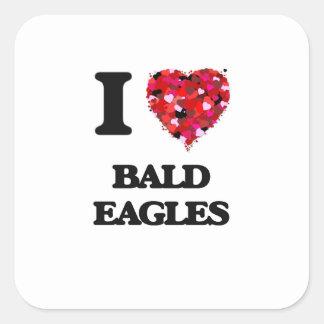 Amo a Eagles calvo Pegatina Cuadrada