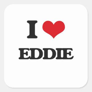 Amo a Eddie Pegatina Cuadrada