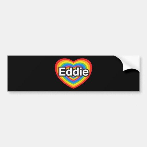 Amo a Eddie. Te amo Eddie. Corazón Pegatina De Parachoque