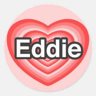 Amo a Eddie. Te amo Eddie. Corazón Pegatina Redonda