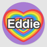 Amo a Eddie. Te amo Eddie. Corazón Pegatinas