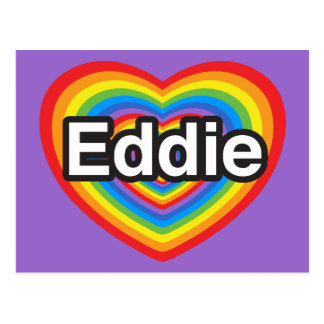 Amo a Eddie. Te amo Eddie. Corazón Postal