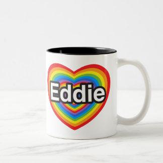 Amo a Eddie. Te amo Eddie. Corazón Taza De Café De Dos Colores