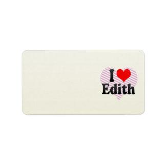 Amo a Edith Etiqueta De Dirección