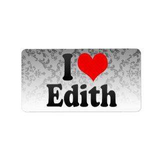Amo a Edith Etiquetas De Dirección