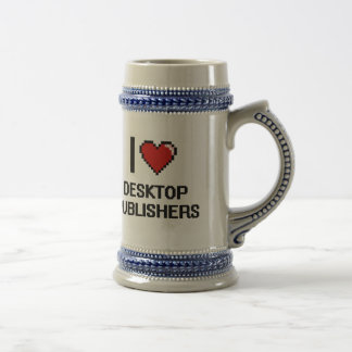 Amo a editores de escritorio jarra de cerveza