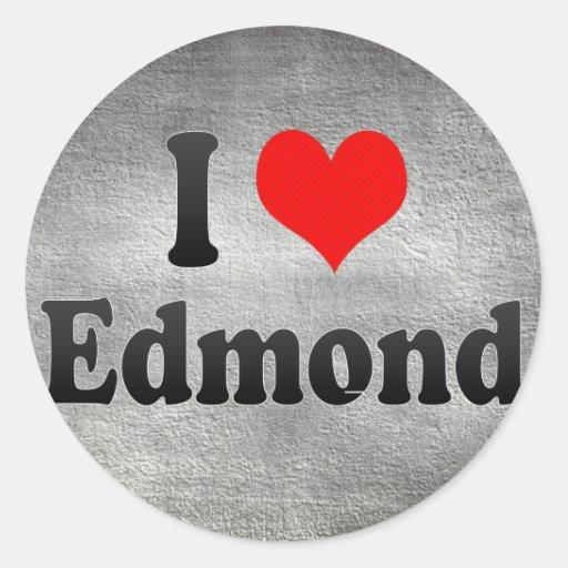 Amo a Edmundo, Estados Unidos Pegatina Redonda