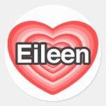 Amo a Eileen. Te amo Eileen. Corazón Pegatina Redonda