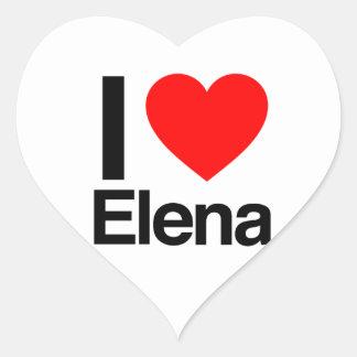 amo a Elena Pegatina En Forma De Corazón