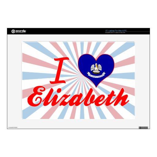 Amo a Elizabeth, Luisiana Portátil Calcomanías