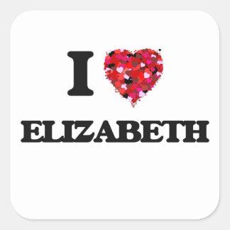 Amo a Elizabeth New Jersey Pegatina Cuadrada