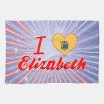 Amo a Elizabeth, New Jersey Toallas De Cocina