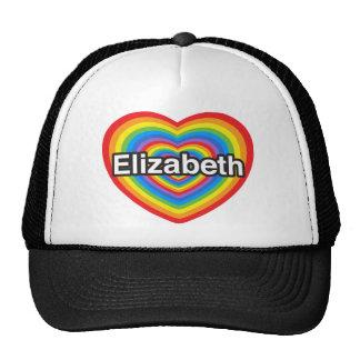 Amo a Elizabeth. Te amo Elizabeth. Corazón Gorros Bordados
