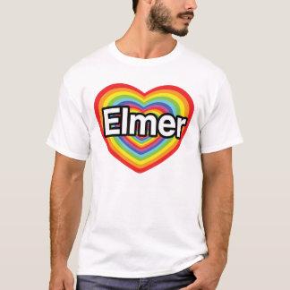 Amo a Elmer, corazón del arco iris Playera