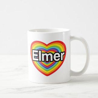 Amo a Elmer, corazón del arco iris Taza Clásica