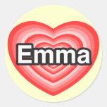 Amo a Emma. Te amo Emma. Corazón Pegatina Redonda
