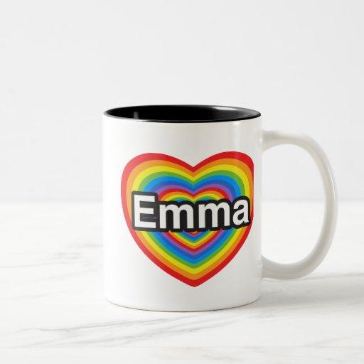 Amo a Emma. Te amo Emma. Corazón Taza De Dos Tonos