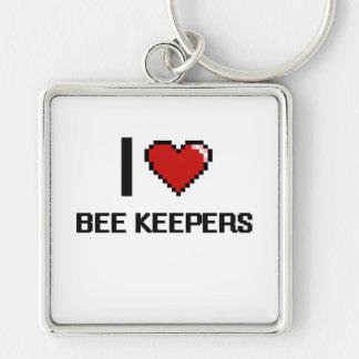 Amo a encargados de la abeja llavero cuadrado plateado
